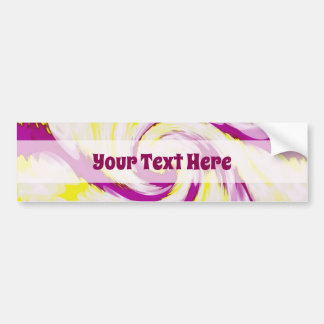 Groovy Pink Yellow White TieDye Swirl Abstract Bumper Sticker