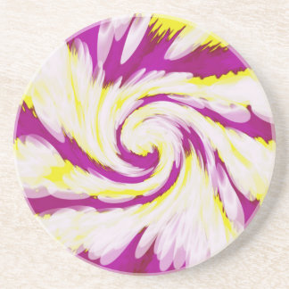 Groovy Pink Yellow White TieDye Swirl Abstract Coaster