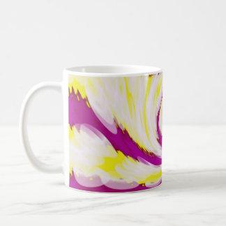 Groovy Pink Yellow White TieDye Swirl Abstract Coffee Mug