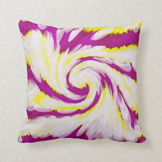 Groovy Pink Yellow White TieDye Swirl Abstract Cushion