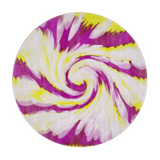 Groovy Pink Yellow White TieDye Swirl Abstract Cutting Board