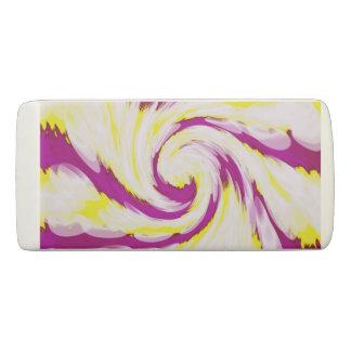 Groovy Pink Yellow White TieDye Swirl Abstract Eraser