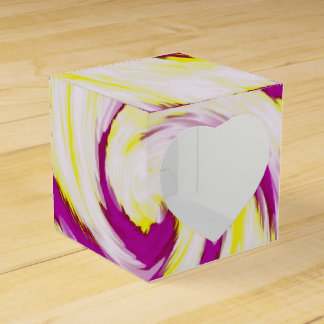 Groovy Pink Yellow White TieDye Swirl Abstract Favour Box