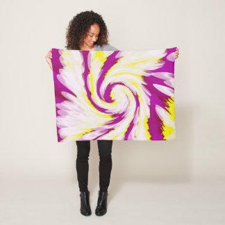 Groovy Pink Yellow White TieDye Swirl Abstract Fleece Blanket