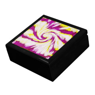 Groovy Pink Yellow White TieDye Swirl Abstract Gift Box