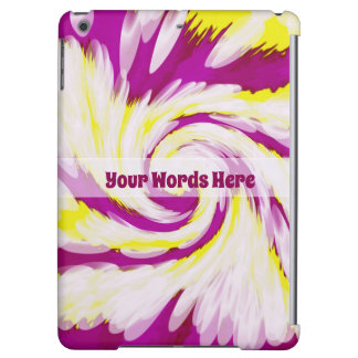 Groovy Pink Yellow White TieDye Swirl Abstract iPad Air Cover