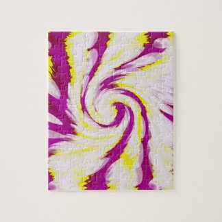 Groovy Pink Yellow White TieDye Swirl Abstract Jigsaw Puzzle