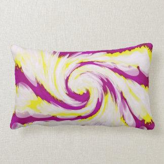 Groovy Pink Yellow White TieDye Swirl Abstract Lumbar Cushion