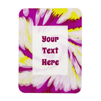 Groovy Pink Yellow White TieDye Swirl Abstract Magnet