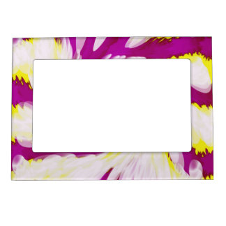 Groovy Pink Yellow White TieDye Swirl Abstract Magnetic Picture Frame