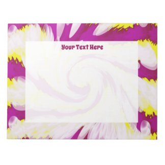 Groovy Pink Yellow White TieDye Swirl Abstract Notepad