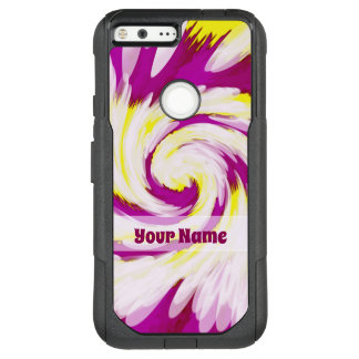 Groovy Pink Yellow White TieDye Swirl Abstract OtterBox Commuter Google Pixel XL Case