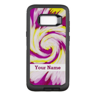 Groovy Pink Yellow White TieDye Swirl Abstract OtterBox Defender Samsung Galaxy S8+ Case