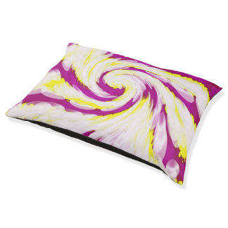 Groovy Pink Yellow White TieDye Swirl Abstract Pet Bed