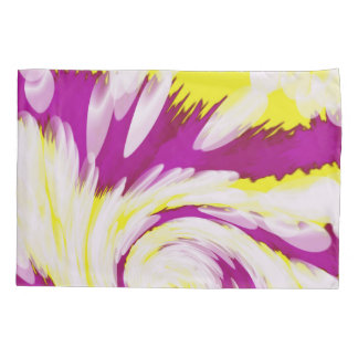 Groovy Pink Yellow White TieDye Swirl Abstract Pillowcase