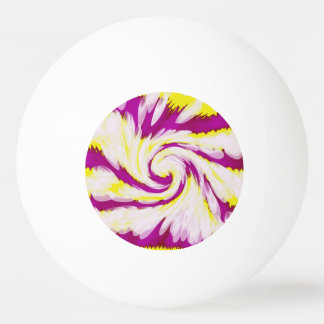 Groovy Pink Yellow White TieDye Swirl Abstract Ping Pong Ball