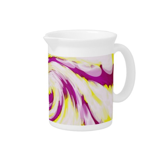 Groovy Pink Yellow White TieDye Swirl Abstract Pitcher