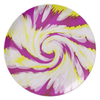 Groovy Pink Yellow White TieDye Swirl Abstract Plate