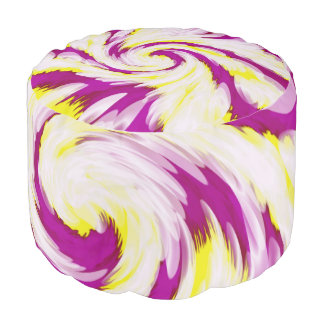 Groovy Pink Yellow White TieDye Swirl Abstract Pouf