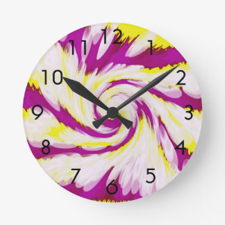 Groovy Pink Yellow White TieDye Swirl Abstract Round Clock