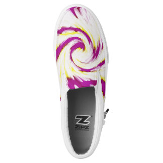 Groovy Pink Yellow White TieDye Swirl Abstract Slip On Shoes