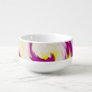 Groovy Pink Yellow White TieDye Swirl Abstract Soup Mug