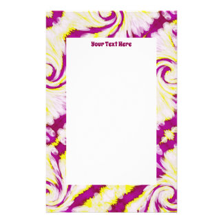 Groovy Pink Yellow White TieDye Swirl Abstract Stationery