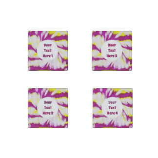 Groovy Pink Yellow White TieDye Swirl Abstract Stone Magnet