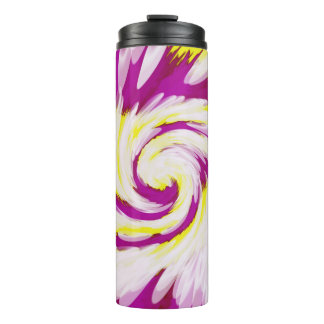 Groovy Pink Yellow White TieDye Swirl Abstract Thermal Tumbler