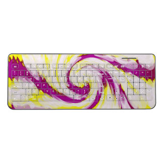Groovy Pink Yellow White TieDye Swirl Abstract Wireless Keyboard