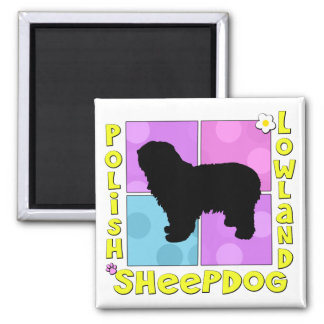 Groovy Polish Lowland Sheepdog Square Magnet