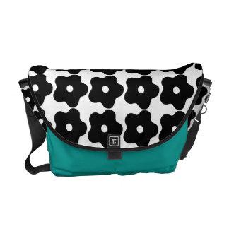 Groovy Pop-Art Blk-Wht Floral Messenger Laptop Bag Messenger Bag