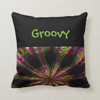 Groovy Psychedelic Black Print Throw Pillow