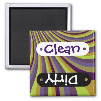 Groovy Purple and Green Rainbow Slide Stripes Patt Square Magnet