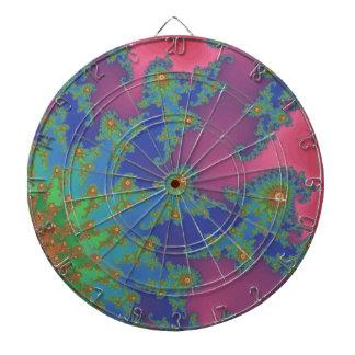 Groovy Rainbow Colored Fractal Art Dartboard