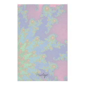 Groovy Rainbow Colored Fractal Art Stationery Paper