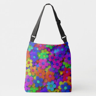 Groovy Rainbow Flowers Crossbody Bag