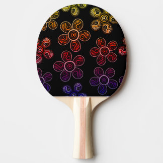 Groovy Rainbow Flowers Design Ping Pong Paddle