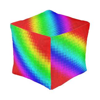 Groovy Rainbow Mosaic Tiles Pattern, Pouffe. Pouf