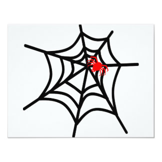 Groovy Red Spider on Web - Halloween 11 Cm X 14 Cm Invitation Card