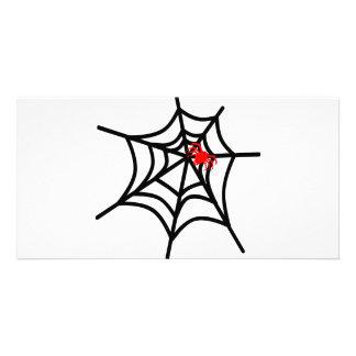Groovy Red Spider on Web - Halloween Custom Photo Card