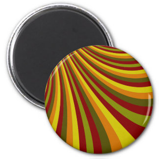 Groovy Red Yellow Orange Green Stripes Pattern 6 Cm Round Magnet