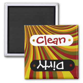 Groovy Red Yellow Orange Green Stripes Pattern Square Magnet