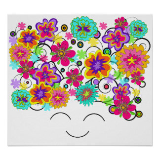Groovy Rerto Flower Head Poster