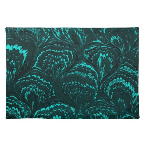 Groovy Retro Abstract Swirls Teal Turquoise Placemat