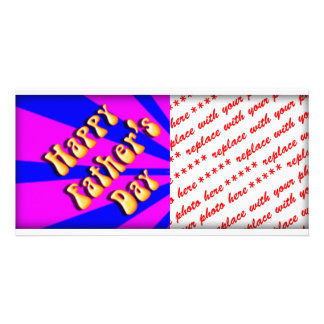 Groovy Retro Blue Pink For Father s Day Photo Greeting Card