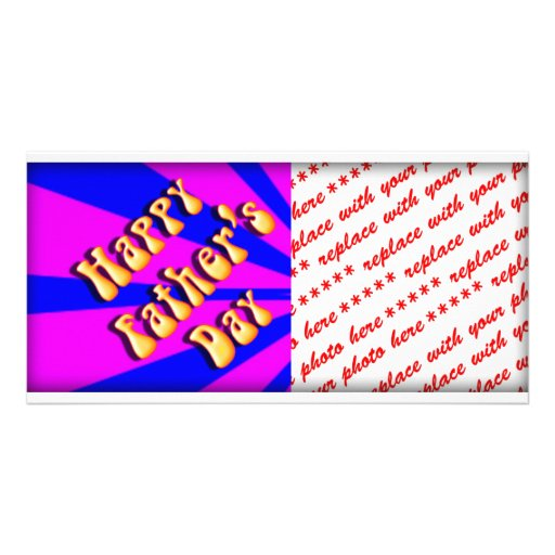 Groovy Retro Blue & Pink For Father's Day Photo Greeting Card