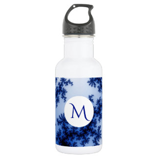 Groovy Retro Delft Blue Fractal Art Monogram 532 Ml Water Bottle