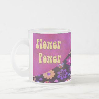 Groovy Retro Flower Power 60s 70s Frosted Glass Mug