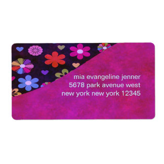 Groovy Retro Flower Power 60s 70s Personalized Shipping Label